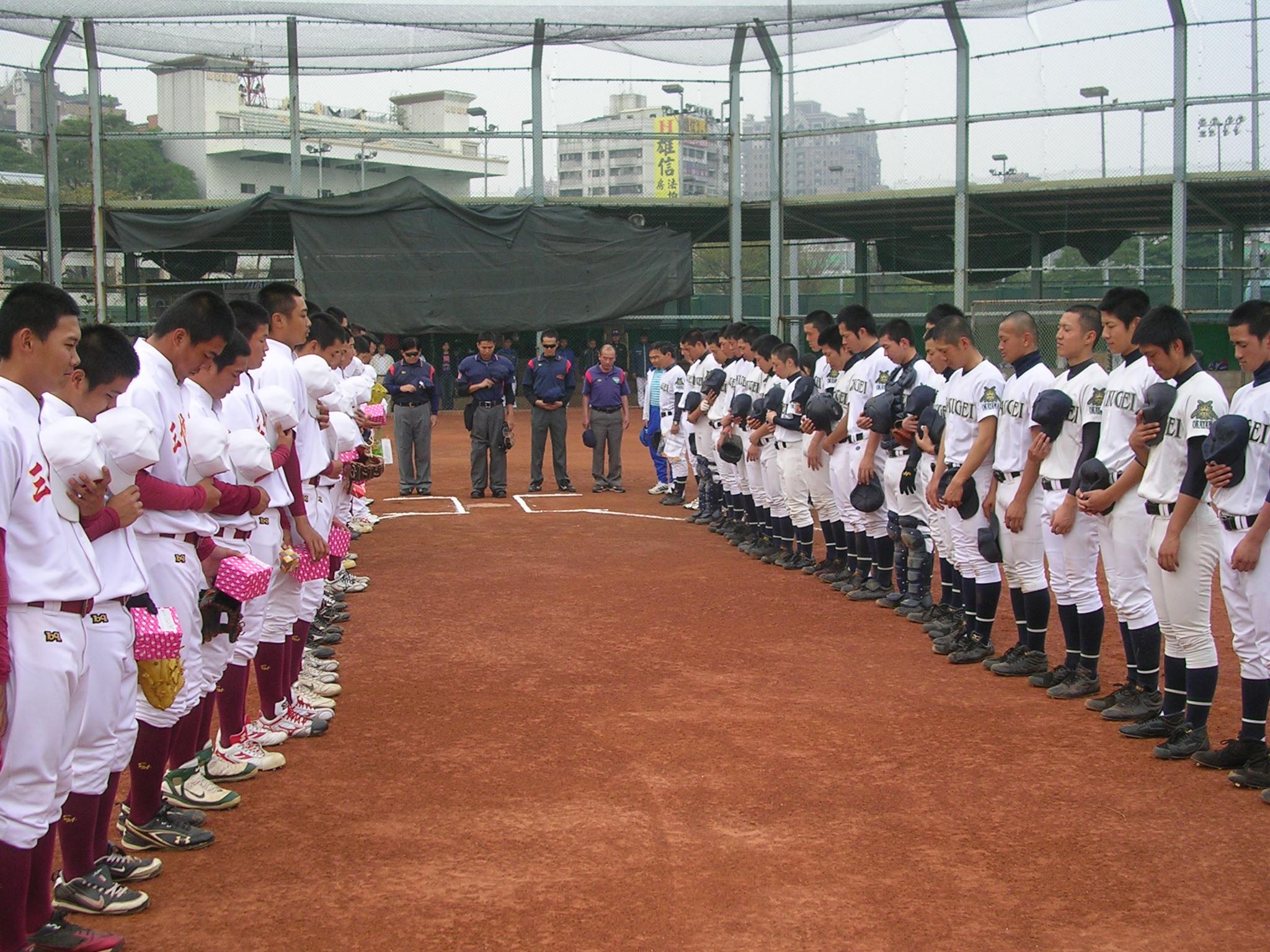 日本岡山縣學藝館高校棒球隊訪高友誼賽二勝二和作收